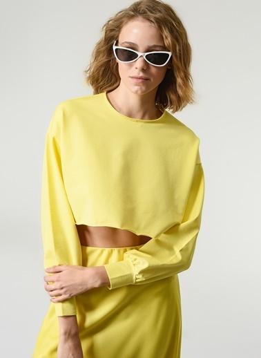 NGSTYLE Kadın Crop  Sweatshirt NGKSS21SW0021 Sarı